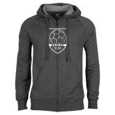 Charcoal Fleece Full Zip Hoodie-Soccer Shield Design