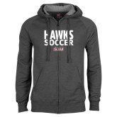 Charcoal Fleece Full Zip Hood-Hawks Soccer Stacked