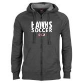 Charcoal Fleece Full Zip Hoodie-Hawks Soccer Stacked