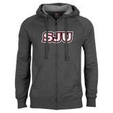 Charcoal Fleece Full Zip Hoodie-SJU