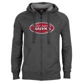 Charcoal Fleece Full Zip Hoodie-Saint Josephs Hawks