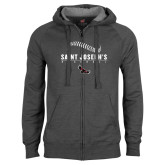 Charcoal Fleece Full Zip Hood-Baseball Seams Design