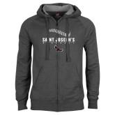 Charcoal Fleece Full Zip Hoodie-Baseball Seams Design