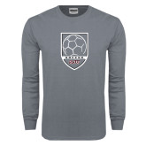 Charcoal Long Sleeve T Shirt-Soccer Shield Design