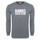 Charcoal Long Sleeve T Shirt-Hawks Soccer Stacked