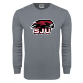 Charcoal Long Sleeve T Shirt-Hawk Head w/ SUJ