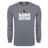 Charcoal Long Sleeve T Shirt-Hawk Nation