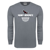 Charcoal Long Sleeve T Shirt-Basketball Sharp Net Design