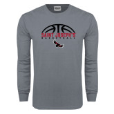 Charcoal Long Sleeve T Shirt-Basketball Half Ball Design
