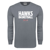 Charcoal Long Sleeve T Shirt-Hawks Basketball Stacked