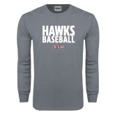 Charcoal Long Sleeve T Shirt-Hawks Baseball Stacked