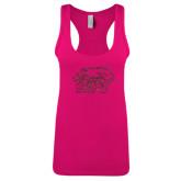 Next Level Ladies Raspberry Ideal Racerback Tank-Hawk Head w/ SUJ Glitter