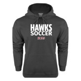 Charcoal Fleece Hood-Hawks Soccer Stacked
