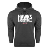 Charcoal Fleece Hood-Hawks Basketball Stacked