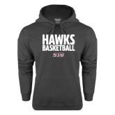 Charcoal Fleece Hoodie-Hawks Basketball Stacked