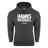Charcoal Fleece Hood-Hawks Baseball Stacked