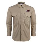 Khaki Long Sleeve Performance Fishing Shirt-Hawk Head w/ Hawks