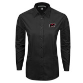 Ladies Black Tonal Pattern Long Sleeve Shirt-Hawk Head w/ Hawks