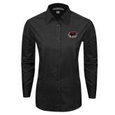 Ladies Black Tonal Pattern Long Sleeve Shirt-Hawk Head w/ SUJ