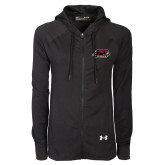 Ladies Under Armour Black Varsity Full Zip Hoodie-Hawk Head w/ Hawks