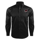 Red House Black Herringbone Non Iron Long Sleeve Shirt-Hawk Head w/ SUJ