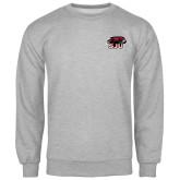 Grey Fleece Crew-Hawk Head w/ SJU
