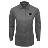 Ladies Grey Tonal Pattern Long Sleeve Shirt-Hawk Head w/ Hawks
