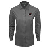 Ladies Grey Tonal Pattern Long Sleeve Shirt-Hawk Head w/ SUJ