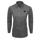Ladies Grey Tonal Pattern Long Sleeve Shirt-Hawk Head w/ SUJ
