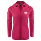 's Ladies Tech Fleece Full Zip Hot Pink Hooded Jacket-Primary Mark