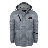 Grey Brushstroke Print Insulated Jacket-Hawk Head w/ Hawks
