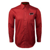 Cardinal Twill Button Down Long Sleeve-Hawk Head w/ Hawks