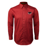 Cardinal Twill Button Down Long Sleeve-Hawk Head w/ SUJ