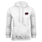 White Fleece Hoodie-Hawk Head w/ SJU