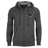 Charcoal Fleece Full Zip Hood-Hawk Head w/ Hawks