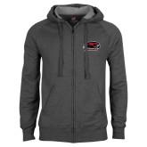 Charcoal Fleece Full Zip Hoodie-Hawk Head w/ Hawks
