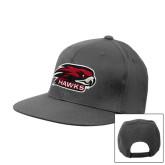 Charcoal Flat Bill Snapback Hat-Hawk Head w/ Hawks