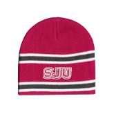 Pink/Charcoal/White Striped Knit Beanie-SJU