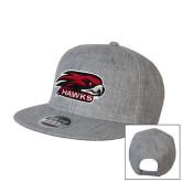 Heather Grey Wool Blend Flat Bill Snapback Hat-Hawk Head w/ Hawks