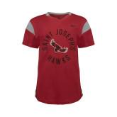 NIKE Sideline Crimson Girls V Neck Short Sleeve Tee-