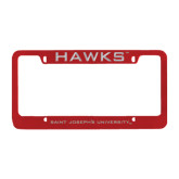 Metal Red License Plate Frame-Hawks