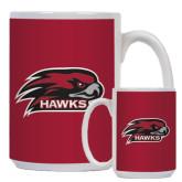 Full Color White Mug 15oz-Hawk Head w/ Hawks