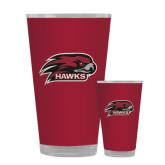 Full Color Glass 17oz-Hawk Head w/ Hawks