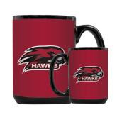 Full Color Black Mug 15oz-Hawk Head w/ Hawks