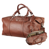 Cutter & Buck Brown Leather Weekender Duffel-SH Paw Official Logo Engraved