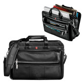 Wenger Swiss Army Leather Black Double Compartment Attache-SH Paw Official Logo Debossed