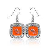 Crystal Studded Square Pendant Silver Dangle Earrings-SH Paw Official Logo