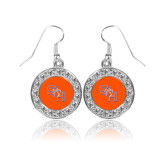 Crystal Studded Round Pendant Silver Dangle Earrings-SH Paw Official Logo