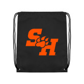 Black Drawstring Backpack-Primary Athletics Mark