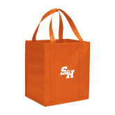 Non Woven Orange Grocery Tote-Primary Athletics Mark